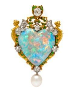 Antique opal, diamond and demantoid garnet brooch with a pearl drop