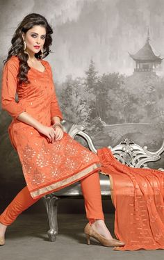 Picture of Tangerine Orange Casual Salwar Kameez