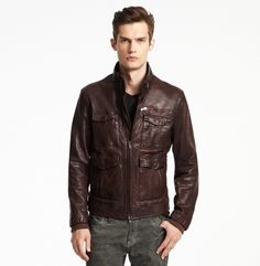 Men's leather aviator jacket from Kenneth Cole