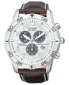 Citizen Watch, Men's Eco-Drive Perpetual Calendar Chronograph Brown Leather Strap
