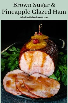 Super easy but so impressive this Brown Sugar and Pineapple Glazed Ham is a beautiful centerpiece for any meal. The glaze is sweet and sticky mingles perfectly with a savory ham.. #holidayham #glazedham via @Baked Broiled and Basted Greek Recipes, Italian Recipes, Ham In The Oven, Easter Bread Recipe, Pineapple Glaze, Easter Side Dishes, Easter Dinner Recipes, Sliced Ham, Ham Glaze