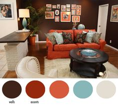 Walker Family Living Room: AFTER - I chose a color palette of chocolate brown, orange, white and robin's edd blue. The walls are boldly brown to allow the accent colors to pop and create a classy and cozy vibe