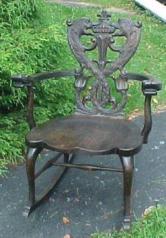 Victorian Gothic Carved Griffin Oak Antique Rocking Chair