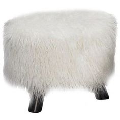 """Faux flokati shag stool with a wood frame.    Product: Foot stoolConstruction Material: Wood and faux flokatiColor: WhiteFeatures: Plush topDimensions: 12.6"""" H x 16""""Diameter"""