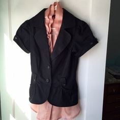 Blazer Dark gray/black, short sleeved, dress jacket is in amazing condition! It's embellished with delicate rouching and statement buttons. Pair it with a nice shirt to complete the perfect top for the office! Jackets & Coats Blazers