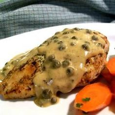 Chicken Breasts in Caper Cream Sauce - Allrecipes.com *note - double cream sauce, omit capers & put mushrooms in place of capers