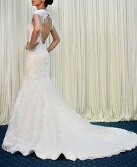 Mermaid Sweetheart Lace Wedding Dress with Removable Cap Sleeves Wedding Gown CUSTOM