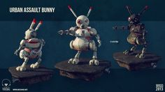 Urban Assault Buny  I just woke up one morning and there he was. Sitting comfortably in my brain. Demanding to be created.  Design, concept, modeling and texturing by me. Rendered in Marmoset Toolbag.