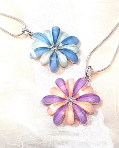 Crystal Flower Necklaces In Sterling Silver 2 Color Style