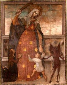 BVM protecting her child against the devil