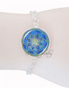Blue mandala flower bracelet bangle chakra om photo charm bracelet glass dome yoga henna jewelry silver chain women bracelet -- Awesome products selected by Anna Churchill