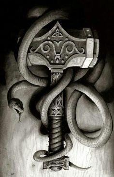 Mjölnir mit Loki Schlange