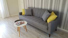 Yellow used in livingroom decor. Family and Garden apartment in Kuressaare Estonia Sofa, Couch, Apartments, Kitchen Decor, Living Room, Interior Design, Yellow, Garden, Furniture