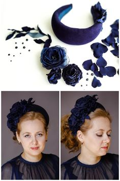 Best 12 ✤ The head piece made from high quality Italian velvet. Navy blue fascinator has collection of in tone flowers and leaves to the right side. Wide chunky halo headband with leaves is lined in the grosgrain ribbon trim. ✤ The headpiece halo headband Halo Headband, Fascinator Headband, Flower Headpiece, Fascinators, Fabric Headbands, Floral Headbands, Navy Blue Fascinator, Flower Head Wreaths, Hair Garland