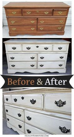Before & After - Dresser in distressed Off White with Black Glaze. Original pulls painted black. From Facelift Furniture. on Facelift Furniture  http://www.faceliftfurniture.com/bedroom-furniture-before-after/