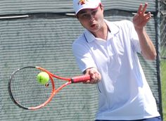 Ames' Neal Molitor returns the ball during Iowa Games tennis at Ames High Tennis court Saturday, July 16, 2016, in Ames. Photo by Nirmalendu Majumdar/Ames Tribune