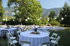 Portland Wedding Venues - table settings for the wedding reception on the lawn - amazing views at Cape Horn Estate weddings