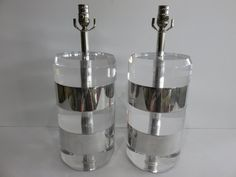 Pair Of Heavy Karl Springer Mid-Century Modern Thick Solid Lucite And Polished Aluminum Lamps. by FLORIDAMODERN on Etsy