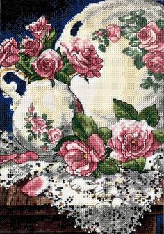 Dimensions Gold Counted #crossstitch  LACE AND ROSES #decor #DIY #crafts