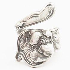 Art Nouveau Poppy Flower Sterling Silver Spoon Ring  by Spoonier