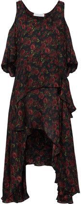 Iro Woman Yvana Cold-shoulder Ruffled Floral-print Silk Crepe De Chine Dress Black Size 34 Iro aKrb4gy