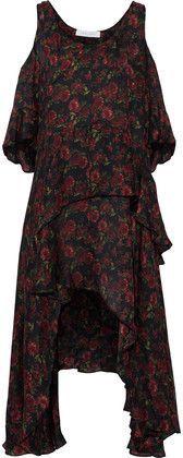 Iro Woman Yvana Cold-shoulder Ruffled Floral-print Silk Crepe De Chine Dress Black Size 34 Iro nf2JCct