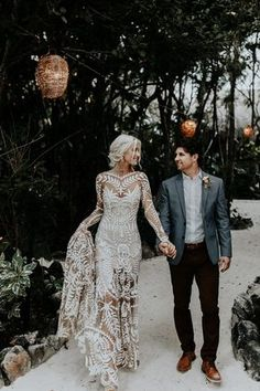 """Real Wedding Celbi + Gabe Dress: Rue De Seine """"Avril"""" Beautiful wedding photography of just married couple, bride wearing an incredible transparent boho kind of wedding dress Wedding Goals, Boho Wedding, Dream Wedding, Bohemian Chic Weddings, Bohemian Bride, Perfect Wedding, Before Wedding, The Dress, Bridal Dresses"""