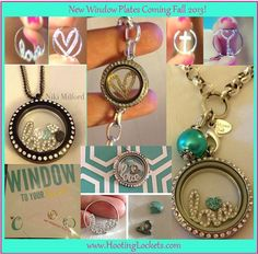 """Origami Owl Fall 2013 New Products! Check out the cute new """"window plates"""" they go in like the current solid plates. Keep an eye on my page www. these are rumored to be coming in early September! Designer ID 19603 Origami Owl Lockets, Origami Owl Jewelry, Origami Owl Fall, Origami Owl Business, 18k Gold Chain, Floating Charms, Personalized Charms, Jewelry Companies, Custom Jewelry"""