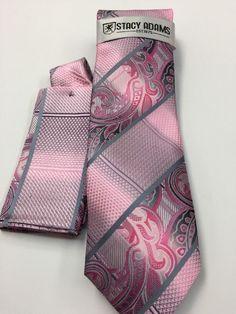 Stacy Adams Tie & Hanky Set Pink & Gray Men's Hand Made 100% Microfiber #StacyAdams #Tie
