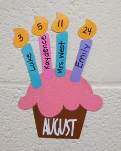 Cute way to display birthdays!