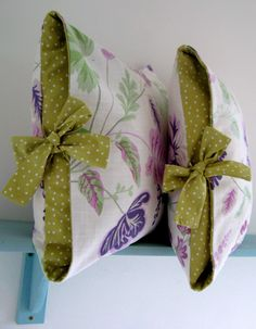 lime and lavender contrast tied cushion covers http://www.etsy.com/listing/69976395/pdf-sewing-guide-how-to-make-a-contrast