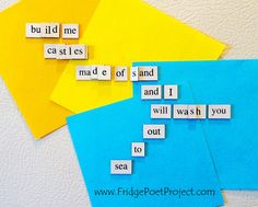 The Daily Magnet #313 Magnetic Poetry; Demagnetize Writer's Block! www.FridgePoetProject.com  #writerslife