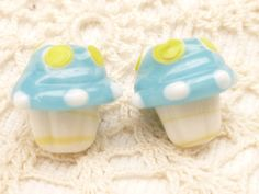 Blue Frosted Cupcake Lampwork Glass Beads 2 by BellasBeadHabit, $3.55