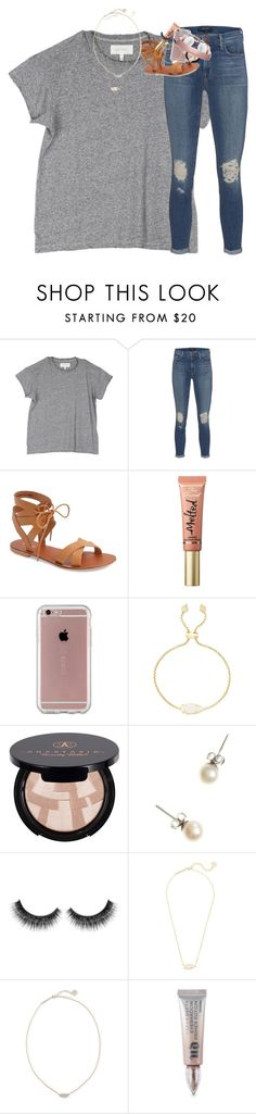 """""""got my nails redone today babes"""" by classynsouthern ❤ liked on Polyvore featuring The Great, J Brand, Topshop, Too Faced Cosmetics, Speck, Kendra Scott, Anastasia Beverly Hills, J.Crew and Urban Decay"""