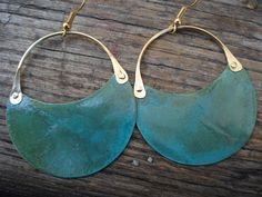 Patina Copper Hoop Earrings Green Blue Verdigris Riveted Earrings Cold Connection Earrings Contemporary Mixed Metal Patina Hoop Earrings