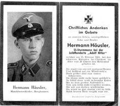 Death card of SS-Sturmmann Hermann Häusler
