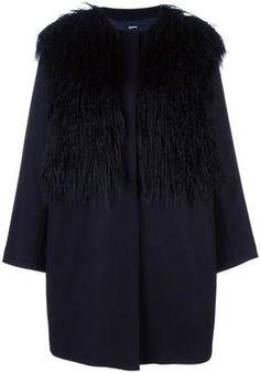 Shop Now - >  https://api.shopstyle.com/action/apiVisitRetailer?id=544616900&pid=uid6996-25233114-59 Jil Sander Navy faux fur collar coat  ...