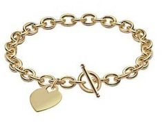 Bling Jewelry Heart Classic 14K Yellow Gold Heart Tag Toggle Bracelet 7.5 Inch