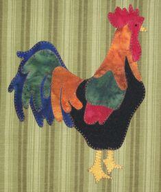 Cock a doodle doooo!... es hora de levantarse y brillar con este lindo diseño.  Este diseño de apliques se puede poner sobre una toalla de té