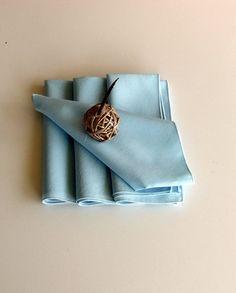 Vintage Napkins in Pale Blue  Set of Four by raemj on Etsy, $12.00
