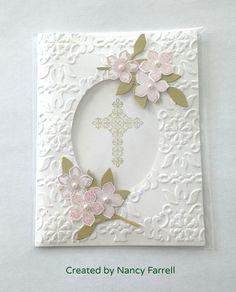 Baptism, communion, confirmation cross religious frame | Baroque embossing folder is the star of this card.  I found it easier to do the embossing before cutting out the oval framelit.  The petite petals can be any color, including plain white on white. I think it is generic enough to be a sympathy card.