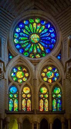 The Sacred: Rose Window in La Sagrada Familia, Barcelona, Spain.