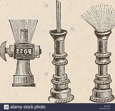 . 'Revolving- -Lawn Sprinklers. These we consider the very best patterns for the purpose for which they are designed, and also the best in point of wear. Peck's 8 arm $5. Peck's 4 arm 4.Stock Photo Lawn Sprinklers, Old Antiques, Purpose, Arms, Good Things, Stock Photos, Patterns, Design, Block Prints