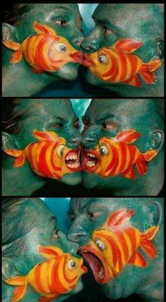 Very cleaver Clown Fish face paint (face illustration)