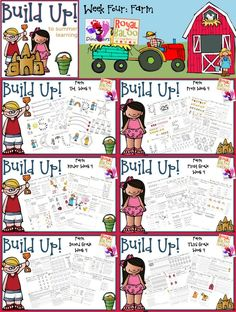 Build Up Summer Learning: Week 4 Farm - Levels: Tot, Prek, Kinder, First Grade, Second Grade & Third Grade - Sight Words, ABCs, ABC Cursive, Numbers, Shapes, Word Families, Language & Math - 3Dinosaurs.com & RoyalBaloo.com