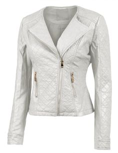 LE3NO Womens Stitched Faux Leather Zip Up Moto Jacket with Side Stretch Panel