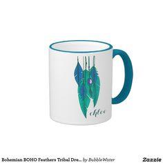 Bohemian BOHO Feathers Tribal Dreamcatcher Ringer Mug