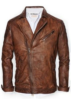 H.E.BY MANGO - NEW - Vintage leather biker jacket
