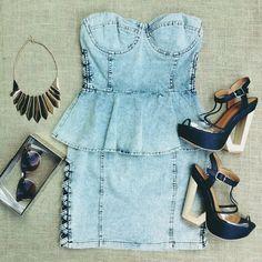 Denim peplum dress! Clear clutch, and cutout wedge! #ootd #showmethatootd