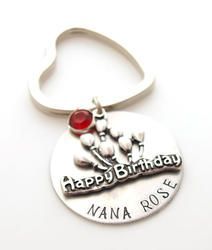 Happy Birthday Personalized Hand Stamped Key chain